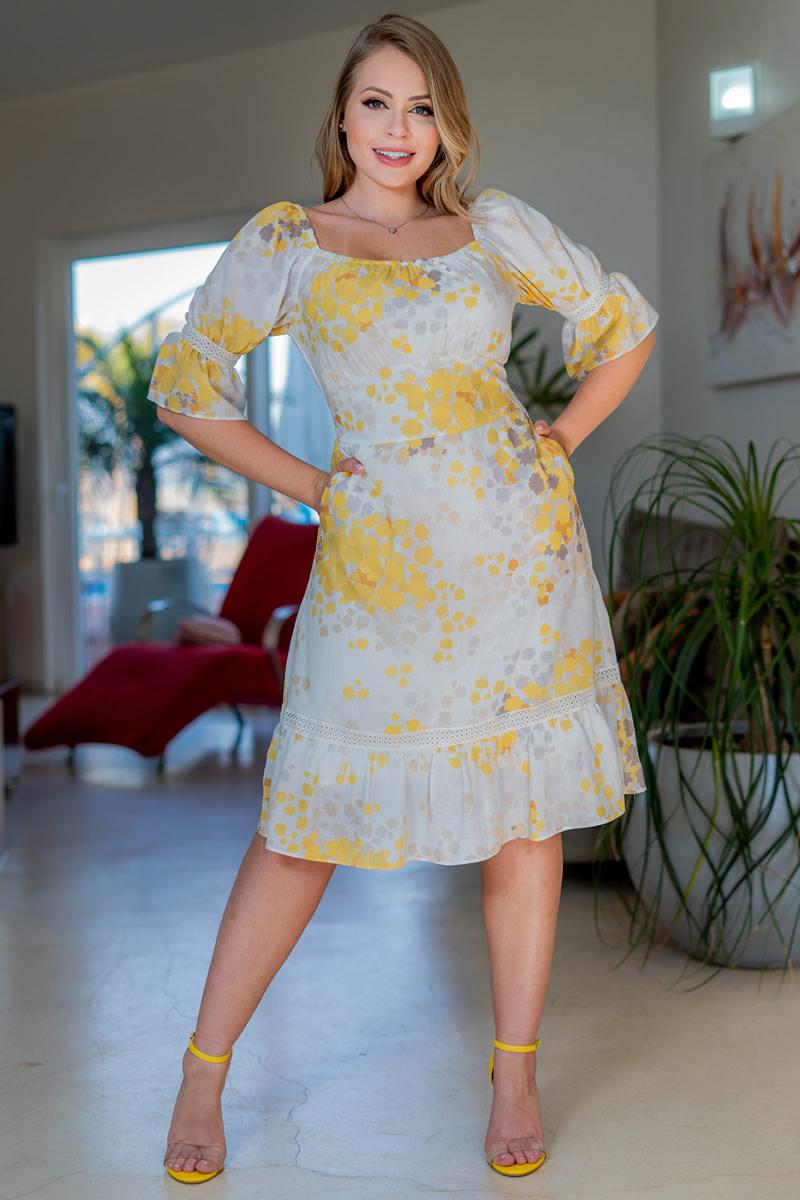Vestido Kauly Crepe Estampado Lastex nas Costas 3158