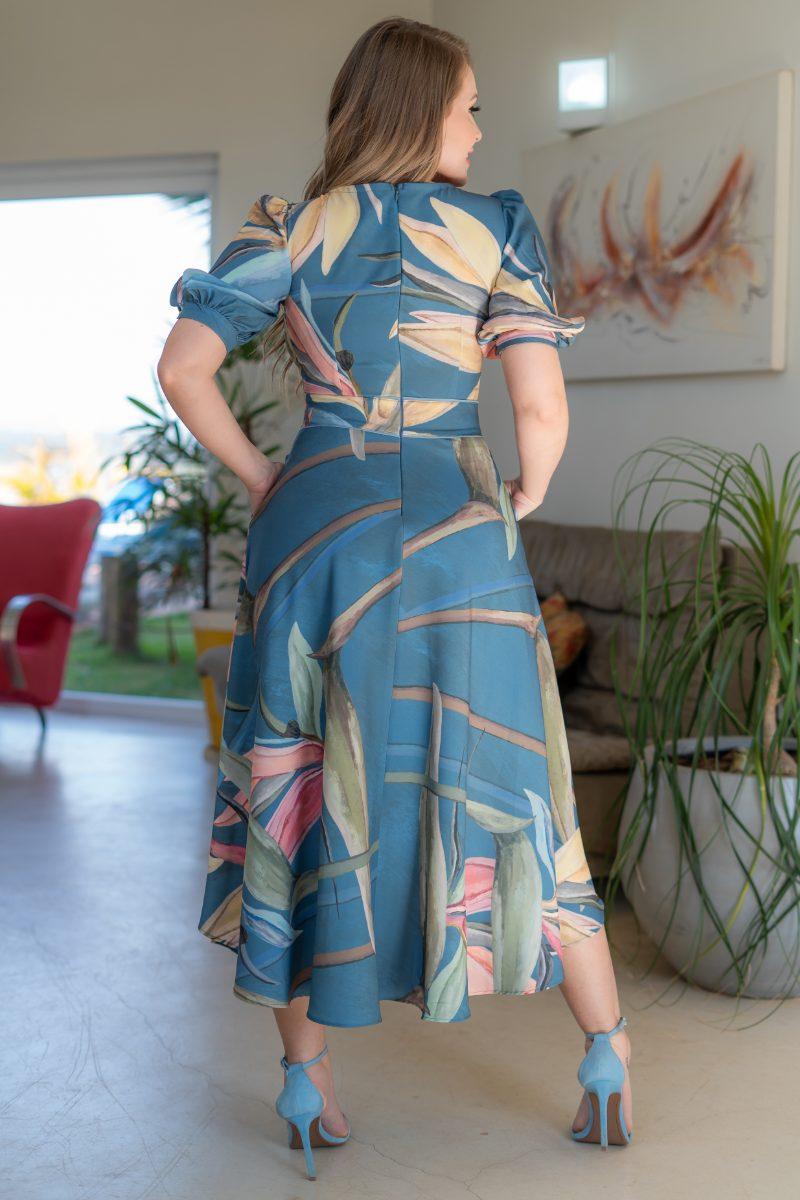 Vestido Kauly Crepe Estampado Mangas Bufante 3156