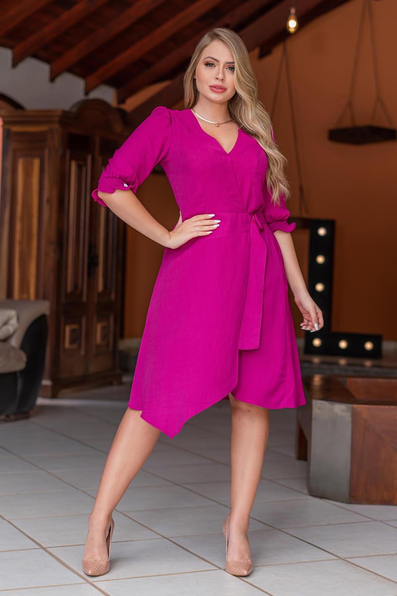 Vestido Kauly Lady Like Viscolinho Pink 3120
