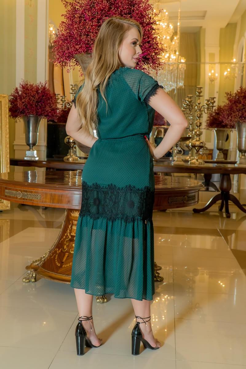 Vestido Kauly Verde Crepe Poá Renda Chantilly e Elastex 2970