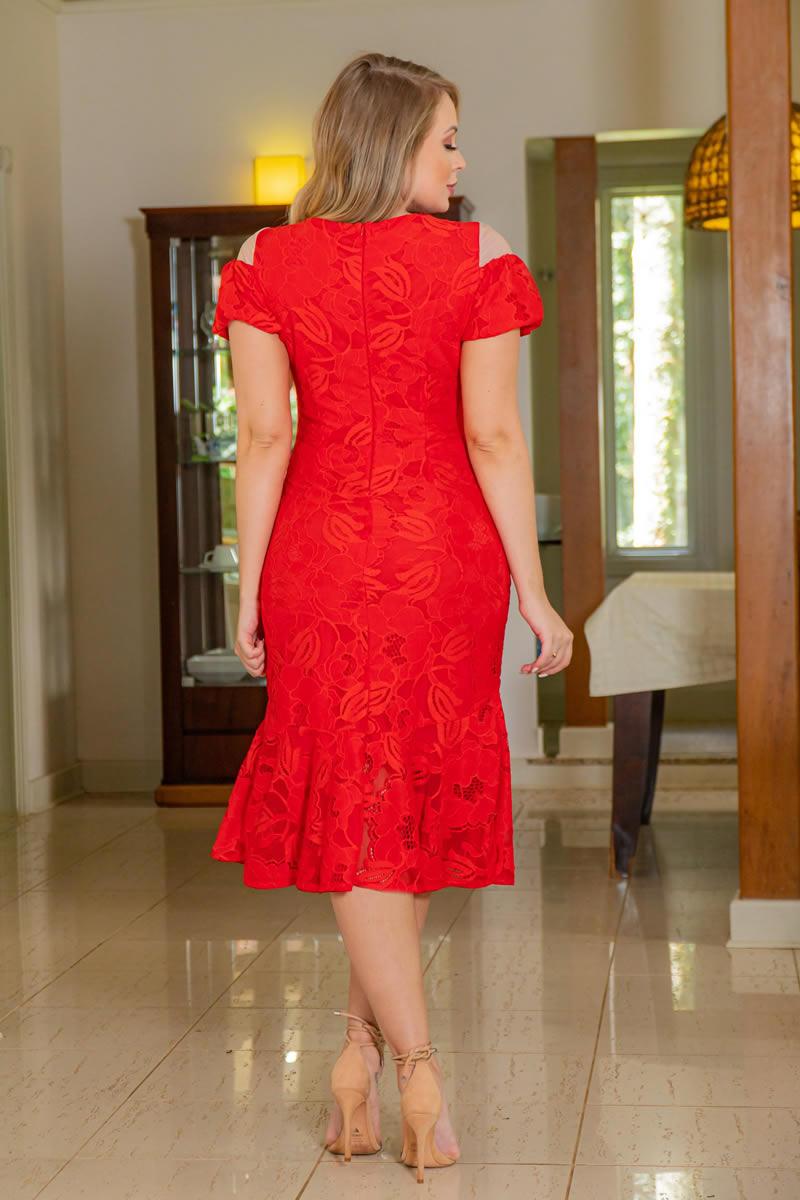Vestido Kauly Vermelho Renda Recortes em Tule 3034