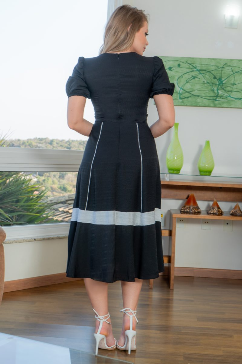 Vestido Kauly Viscolinho Preto Detalhes Vivos 3167