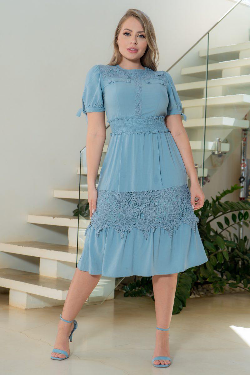 Vestido Kauly Viscolinho Recortes Renda e Lastex 3159