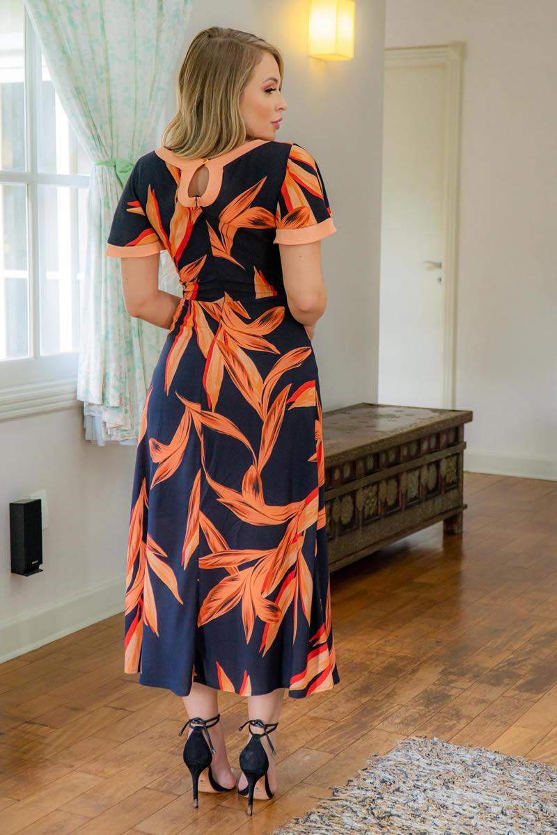 Vestido Kauly Viscose com Fenda Gota nas Costas 3037