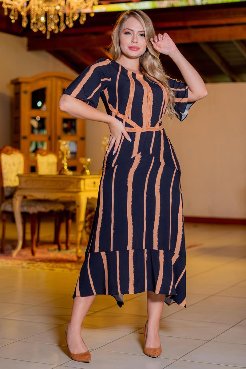 Vestido Kauly Viscose Estampado Detalhes em Renda Entremeio 3073