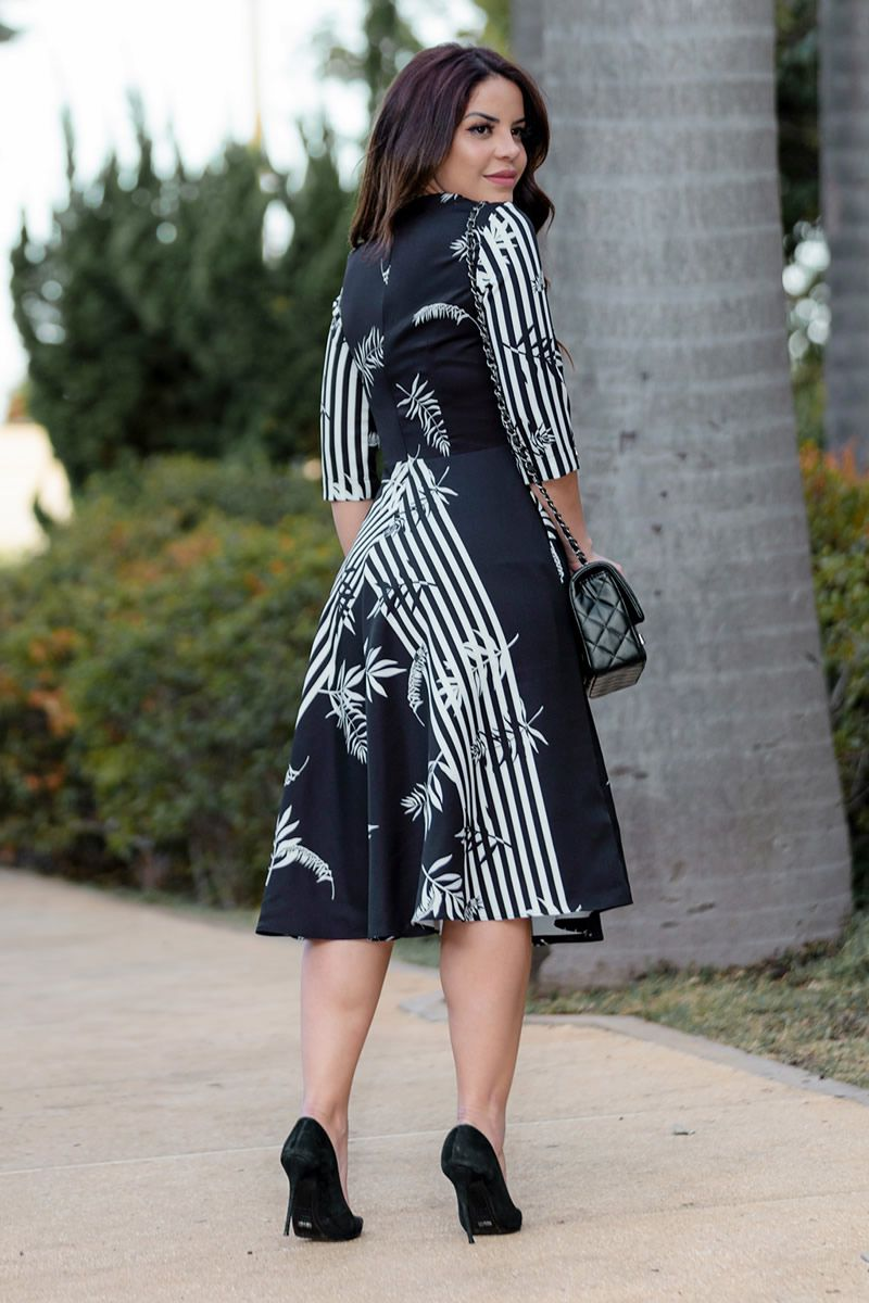 Vestido Lady like Alfaiataria com Estampa Exclusiva Kauly 2837