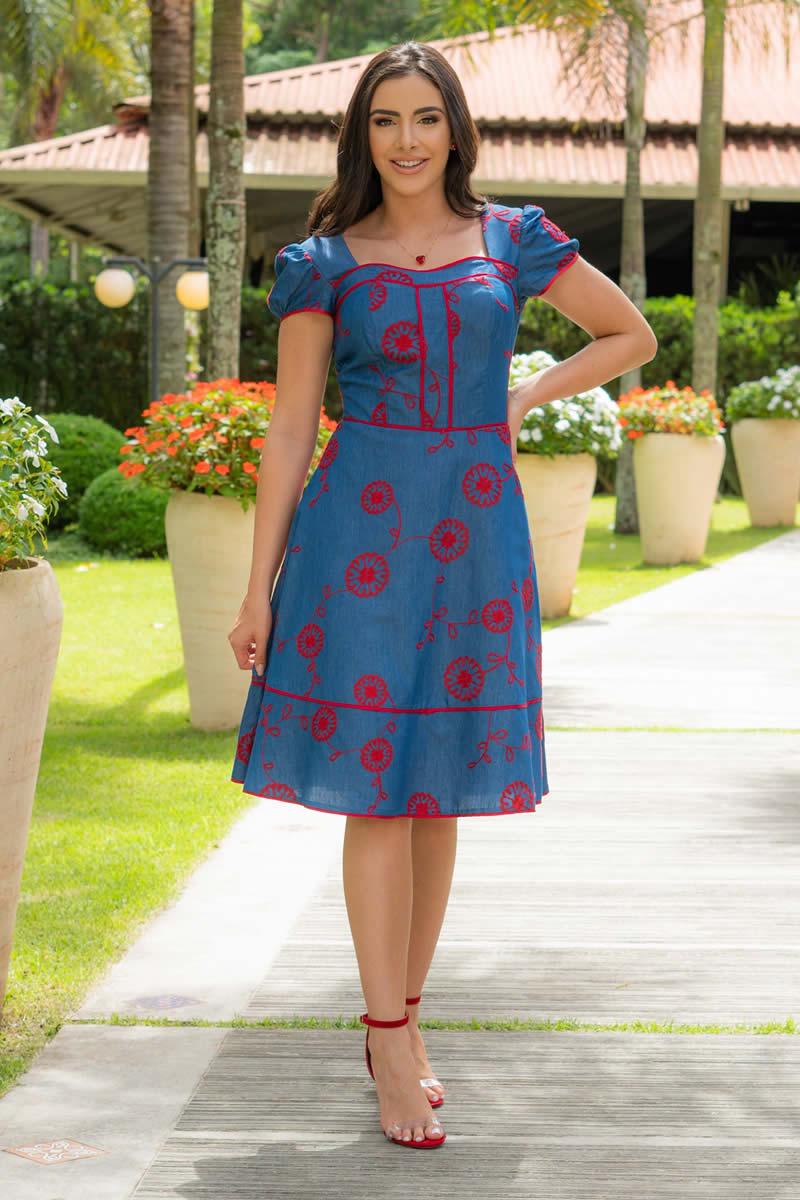 Vestido Lady Like Jeans Bordado Luciana Pais 92944