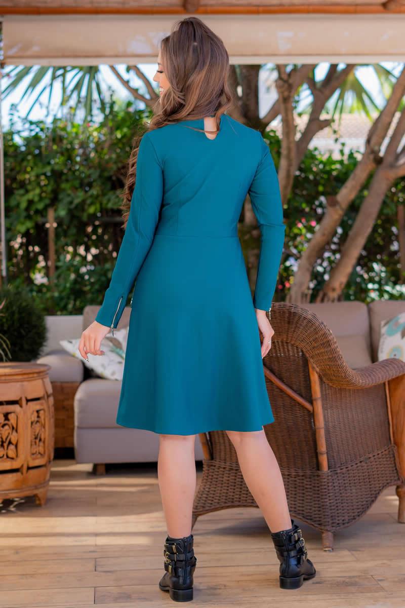 Vestido Lady Like Malha com Bolso Fake Luciana Pais 93060