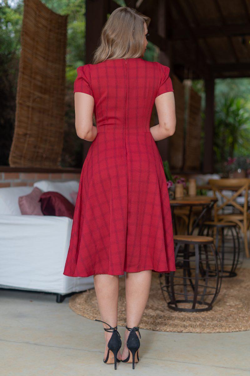 Vestido Lady Like Xadrez Kauly em Alfaiataria com Bolsos 3176