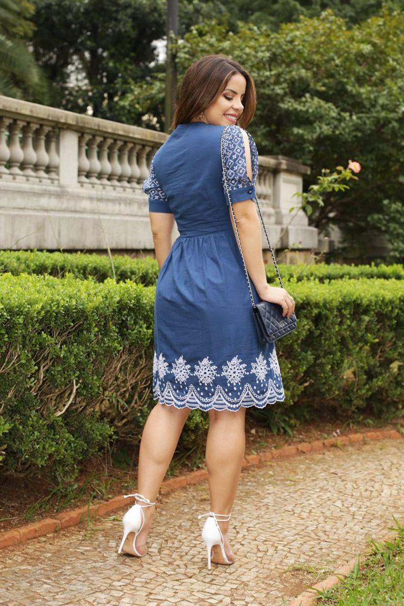 Vestido Laise com Barrado e Abertura Frontal Luciana Pais 92522