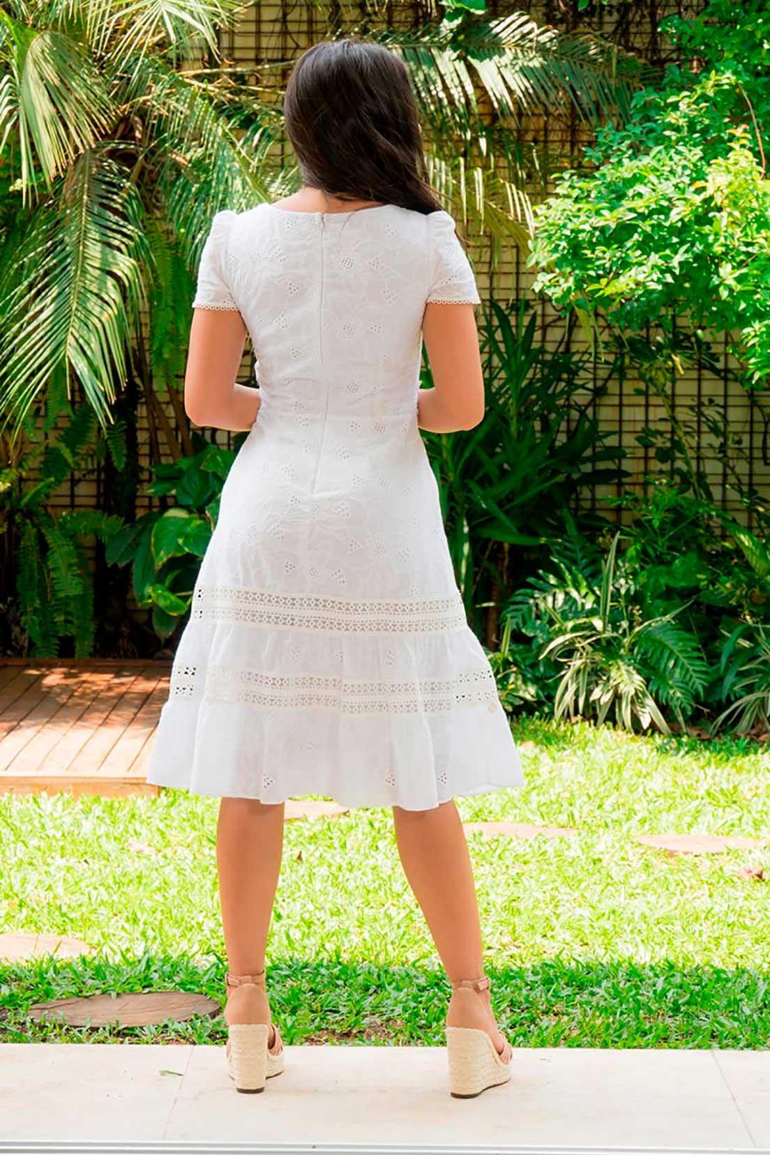 Vestido Laise Detalhes Renda Luciana Pais 92890 Branco