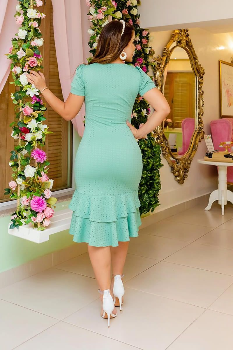Vestido Laise Malha Detalhes Renda Luciana Pais 92698