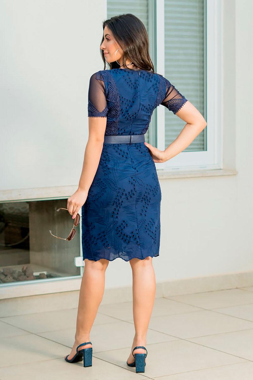 Vestido Lasie com Manga Tule e Cinto Luciana Pais 92865 Azul