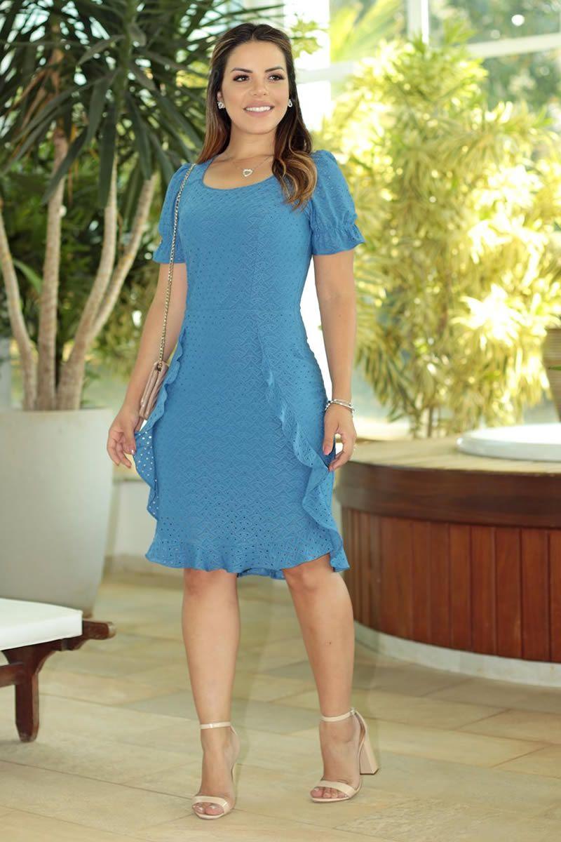 Vestido Lasiê de Malha Detalhes Babado com Forro Luciana Pais 92592
