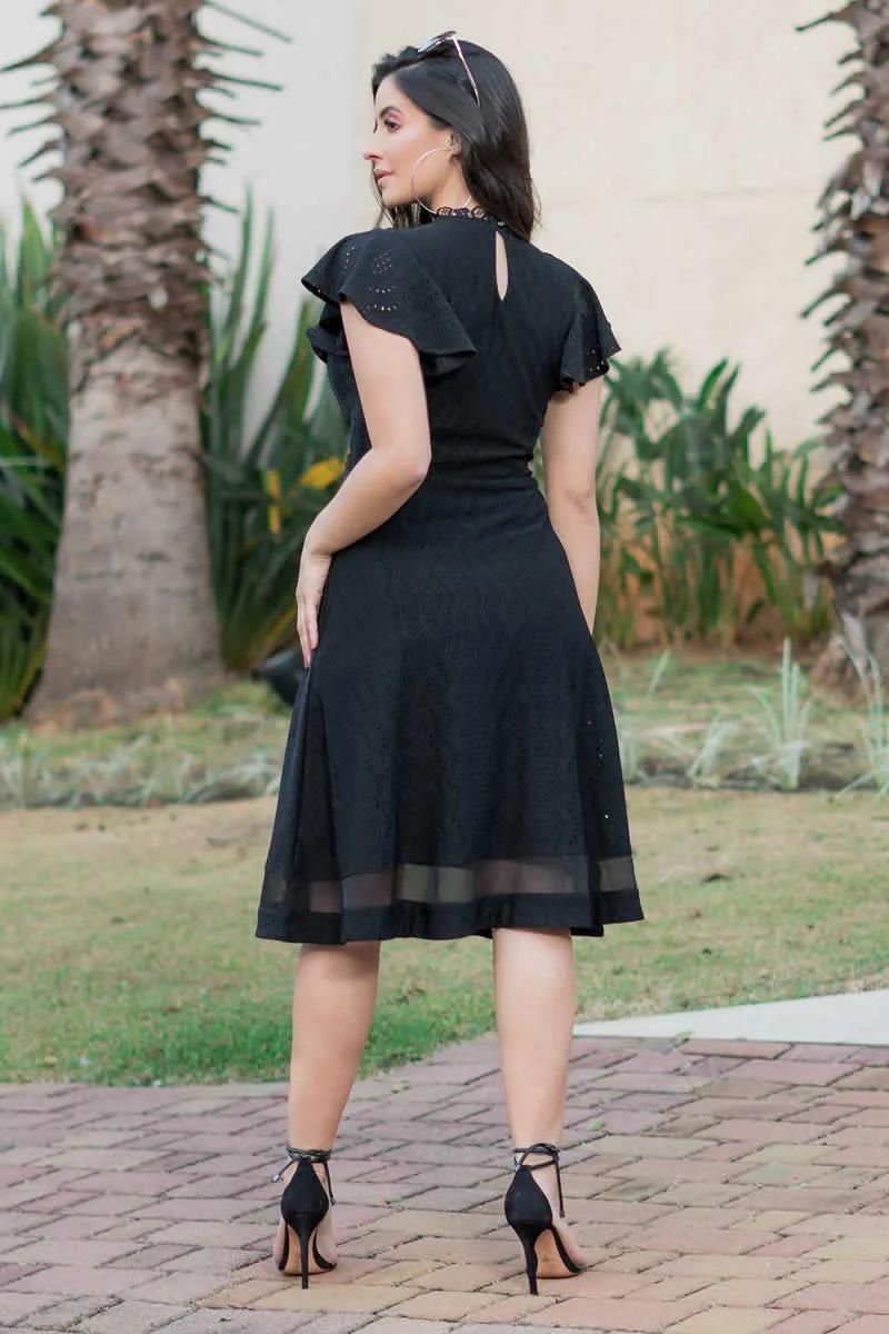 Vestido Lasie de Malha Recortes e Manga Babado Luciana Pais 92857