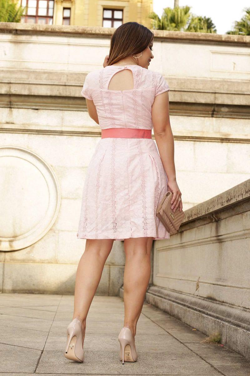Vestido Leise com Pregas e Cinto de Macrame Luciana Pais 92510