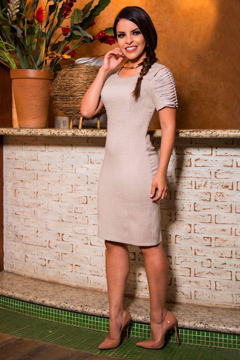Vestido Linho com Forro Luciana Pais 92205