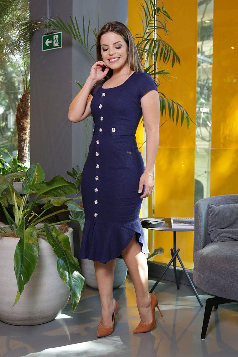 Vestido Linho Strech com Forro Kauly Moda Evangélica 2572