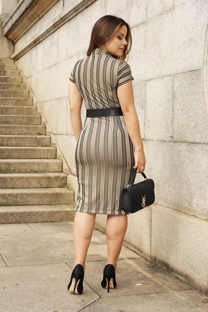 Vestido Listra Rayon Dourada com Zíper Luciana Pais 92511