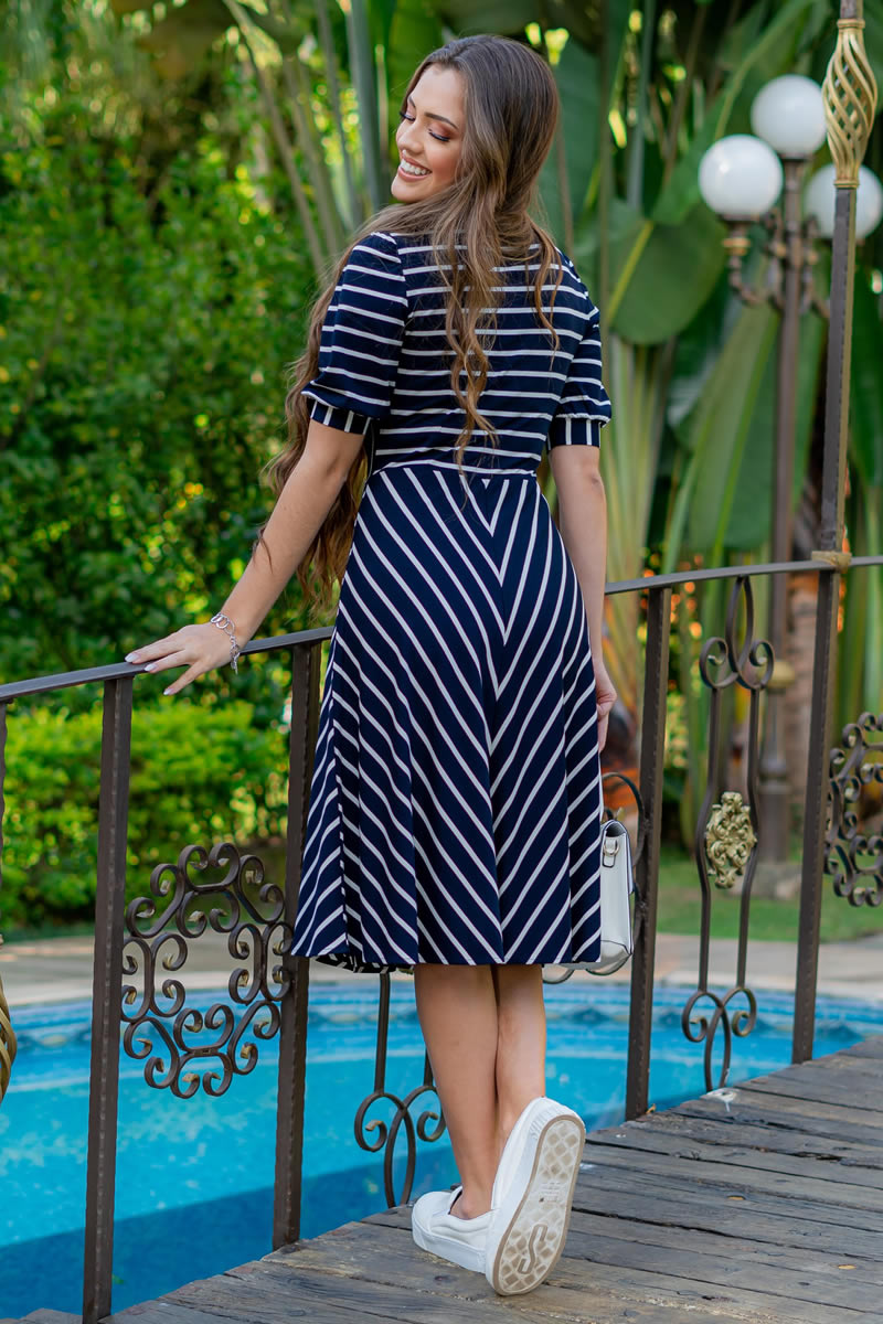 Vestido Listrado Lady Like Malha Crepe Luciana Pais 93032
