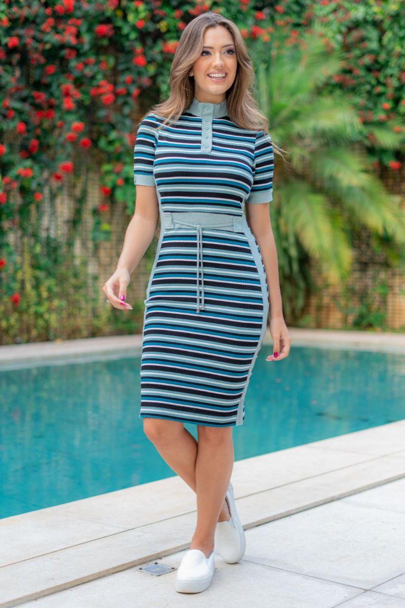 Vestido Listrado Luciana Pais Malha Canelada 93078