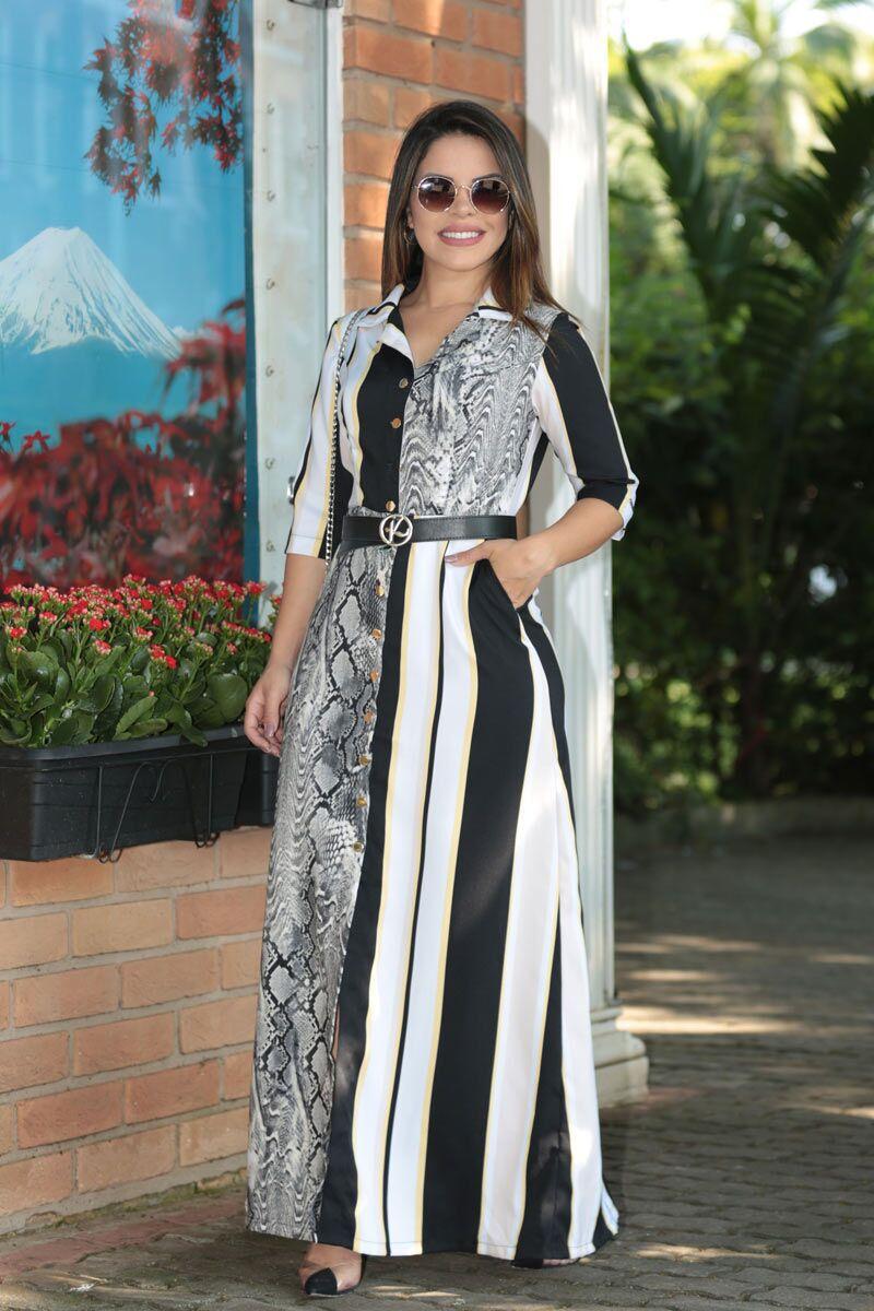 Vestido longo Alfaiataria com Cinto Personalizado Kauly 2520