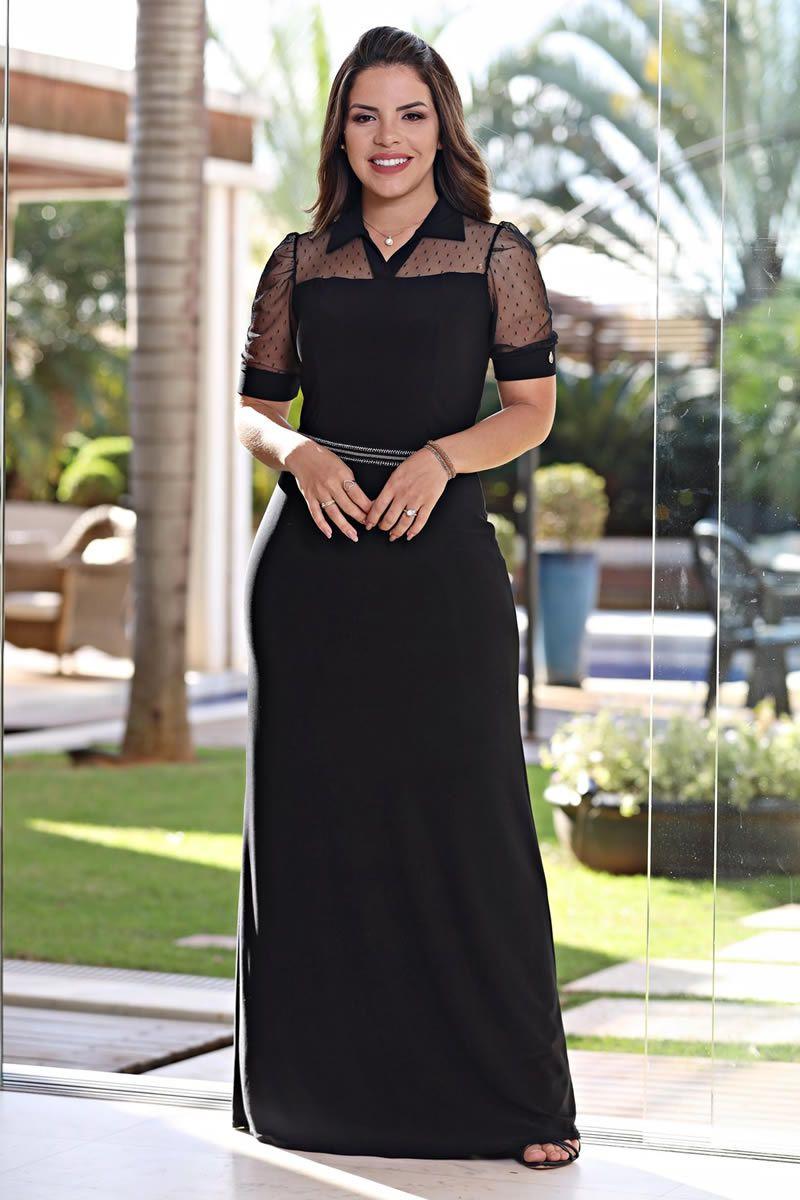 Vestido Longo com Forro e Cinto Luciana Pais 92546