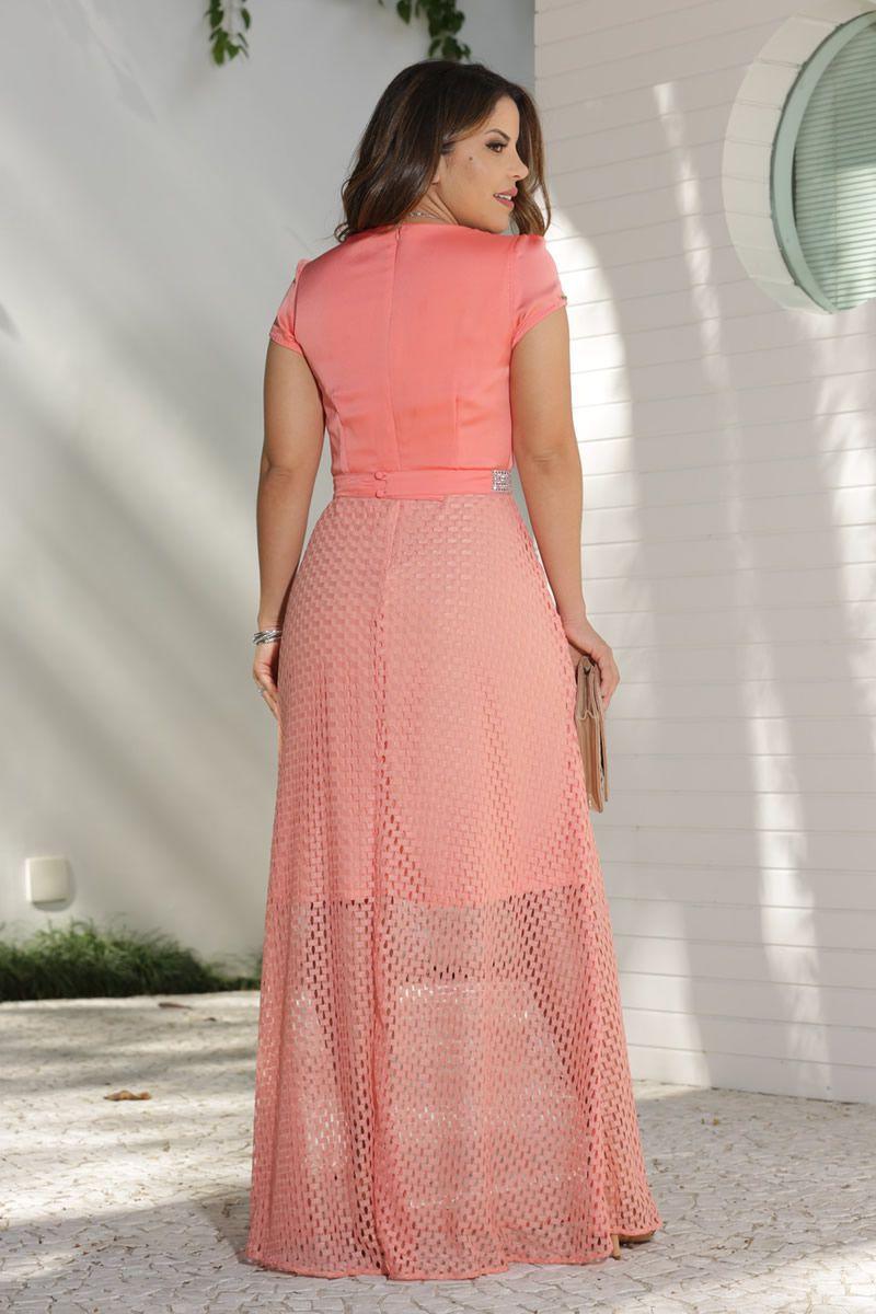 Vestido Longo Crepe Acetinado e Renda Arrastão Kauly Moda Evangélica 2592