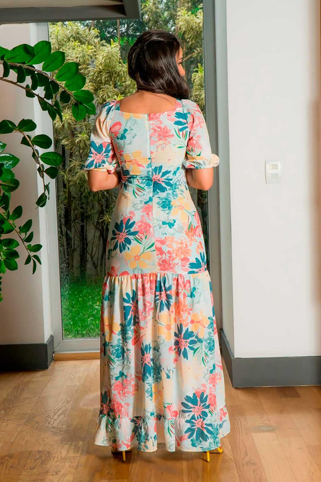Vestido Longo Crepe Estampado Mangas Bufantes Luciana Pais 92855