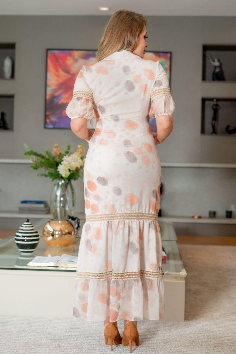 Vestido longo Crepe Renda Entremeio Kauly 3138