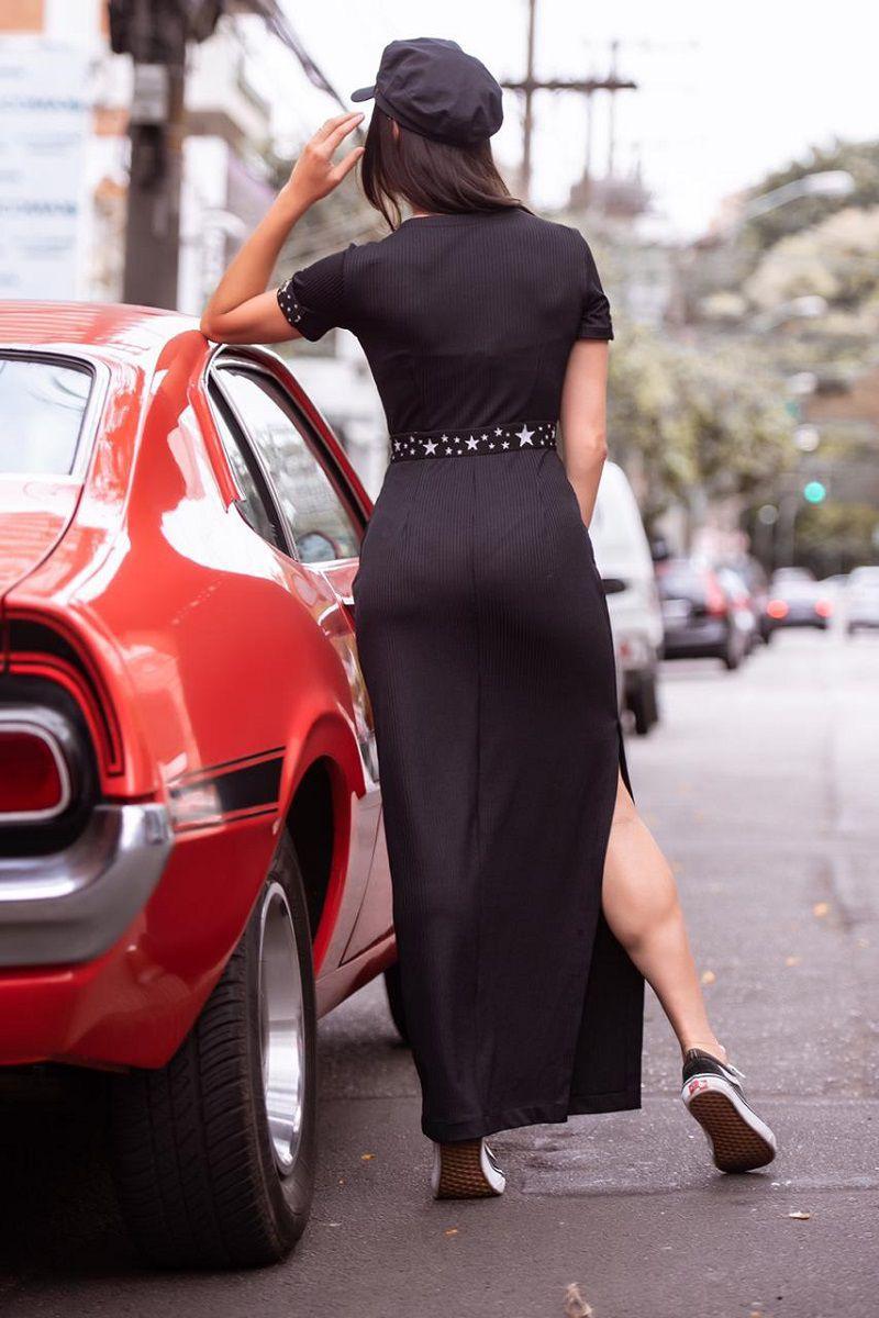 Vestido Longo em Malha com Faixas Luciana Pais 92334