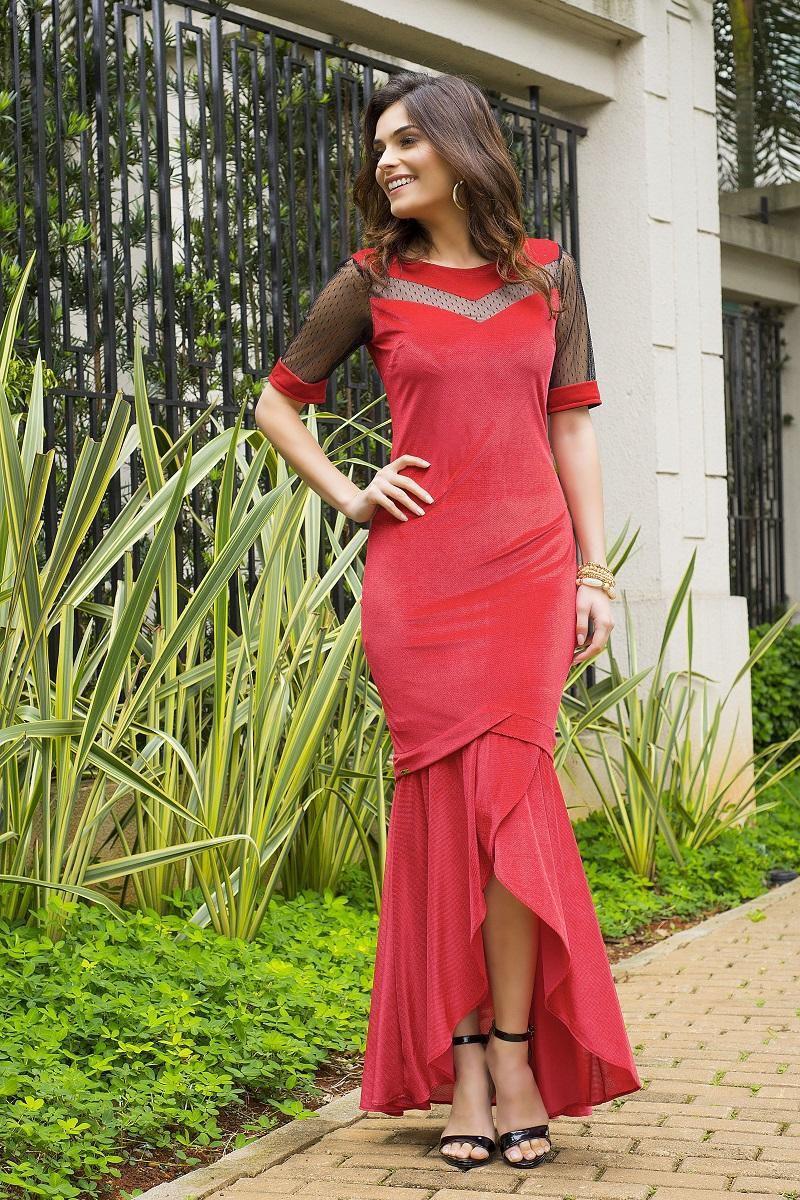 Vestido Longo em Veludo Moda Evangélica 2420