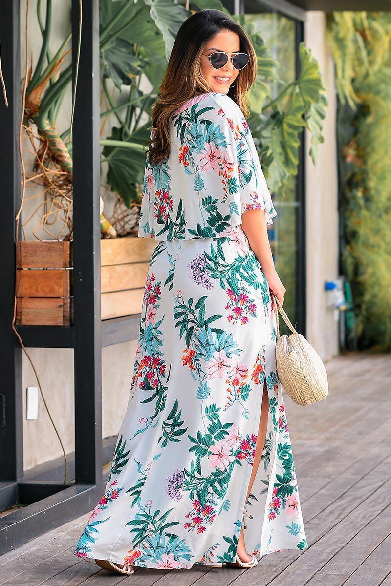 Vestido Longo em Viscose Estampado com Forro Luciana Pais 92370