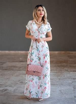 Vestido Longo Estampado Monia Moda Evangélica 86152