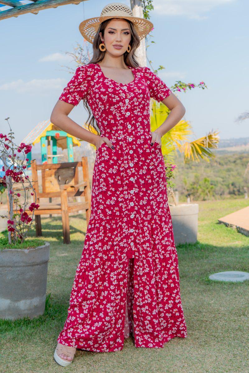 Vestido Longo Estampado Viscolinho Luciana Pais 93141