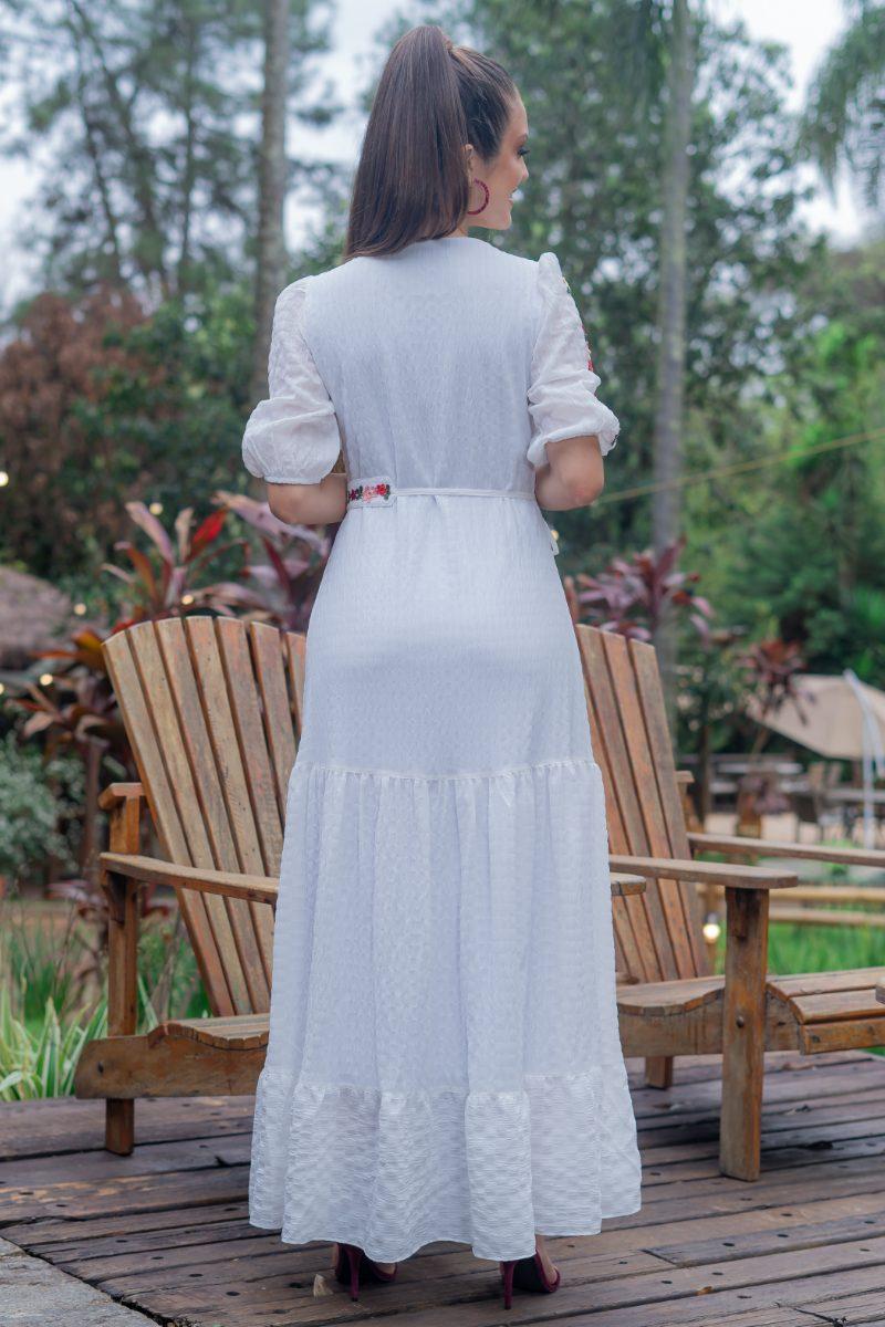 Vestido Longo Luciana Pais Crepe Anarruga Branco com Elastano 93167