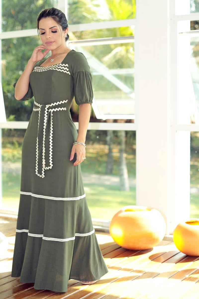 Vestido Longo Malha Crepe Detalhes Sianinha com Forro Luciana Pais 92598