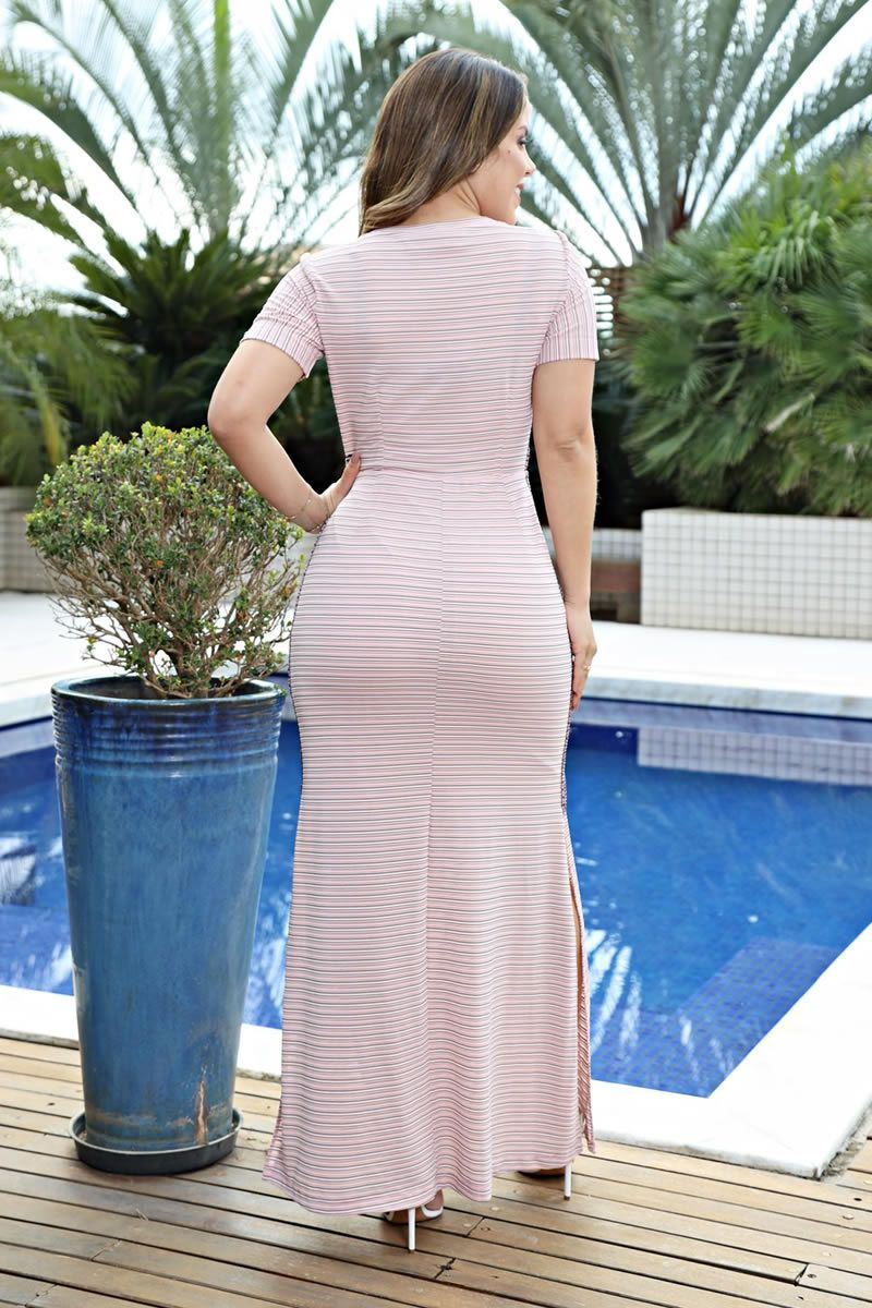 Vestido longo malha devorê Luciana Pais 92548