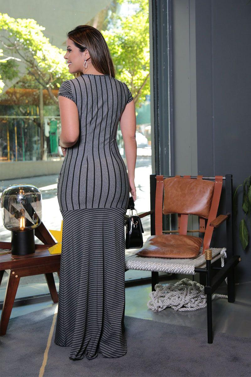 Vestido Longo Malha Listrada Mescla com Forro Kauly Moda Evangélica 2569