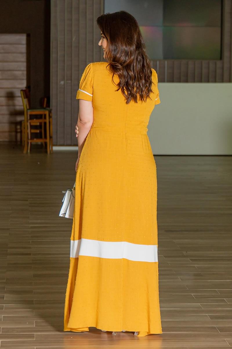 Vestido Longo Plus Size Viscolinho Pipoquinha Kauly 3005 Mostarda