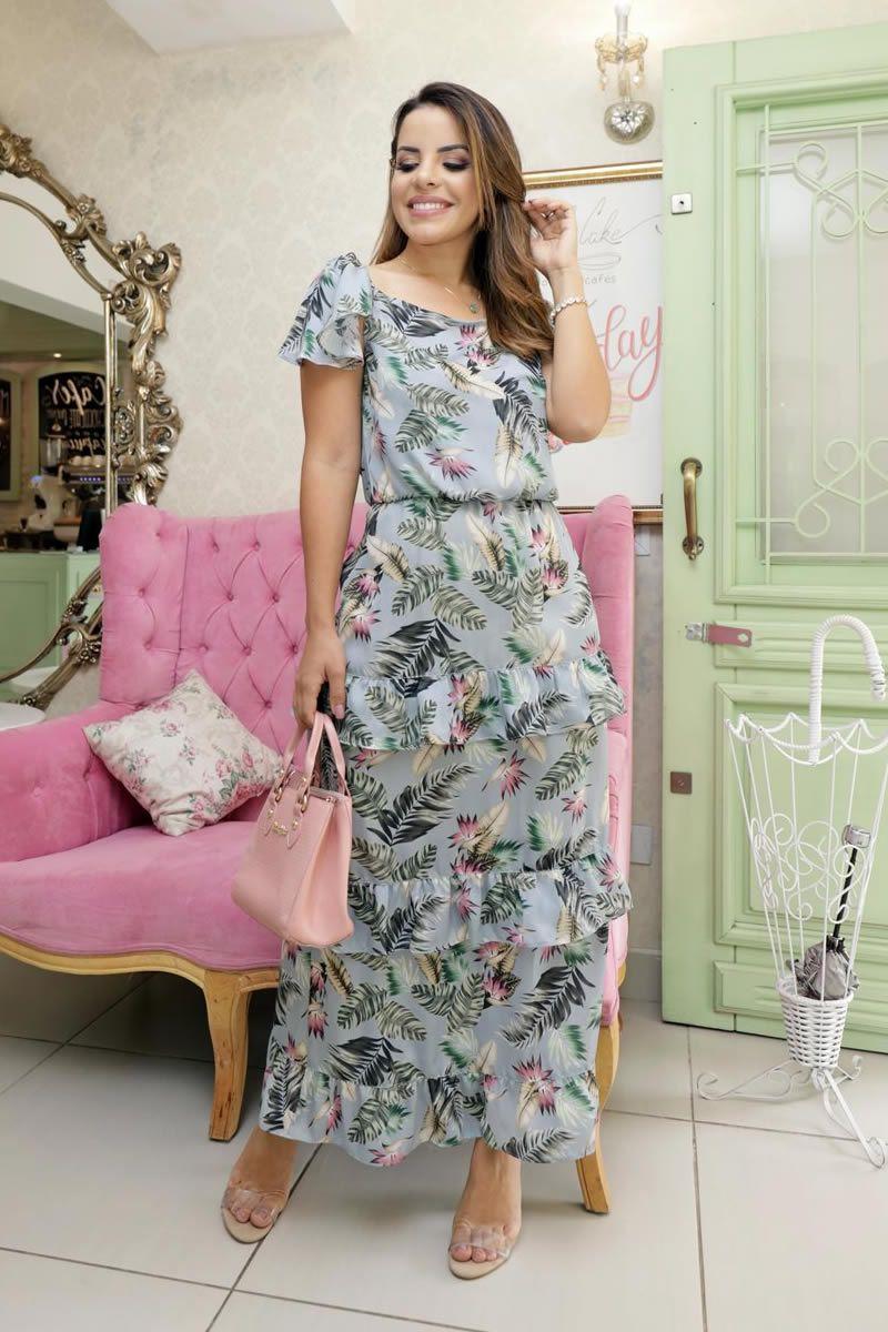 Vestido Longo Seda Estampada Luciana Pais 92622