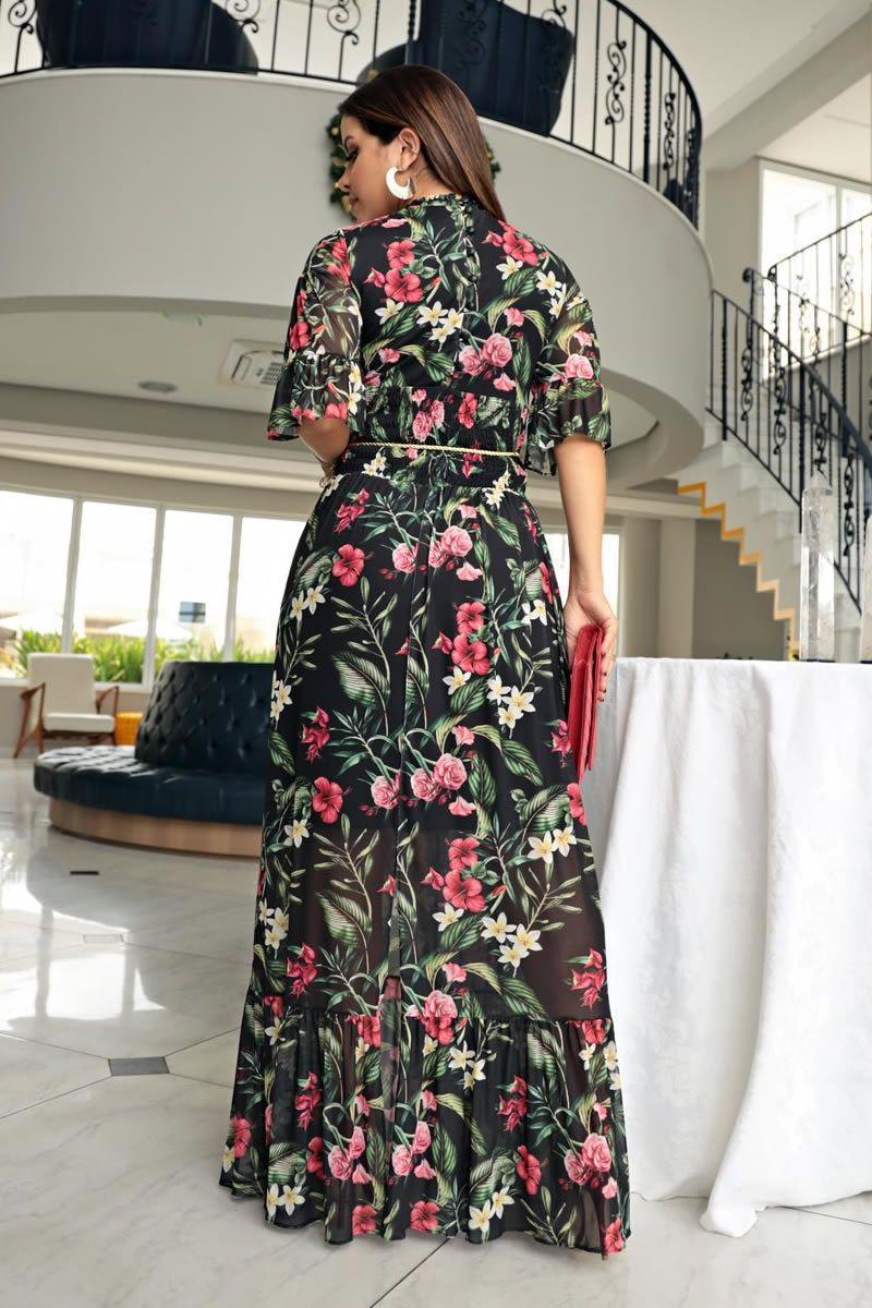 Vestido Longo Tule Estampado Detalhes Renda Kauly 2712