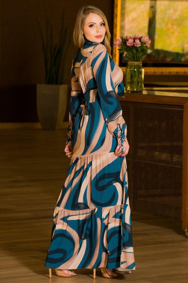 Vestido Longo Viscose Kauly 2868 Estampado
