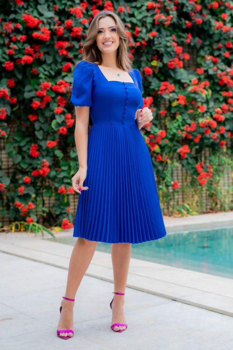 Vestido Luciana Pais Alfaiataria Plissado 93105