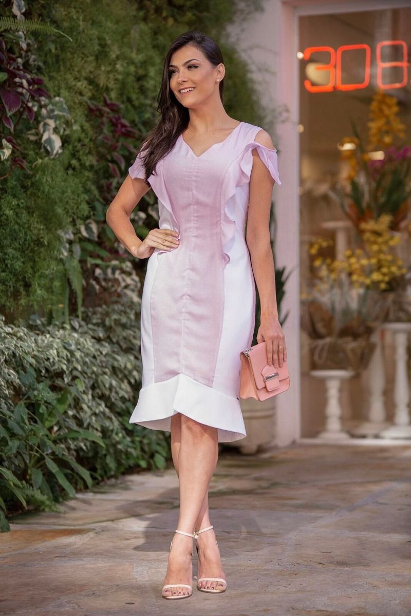 Vestido Luciana Pais Bicolor Crepe com Forro 92282