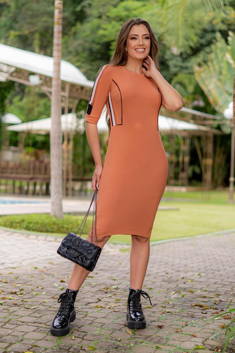 Vestido Luciana Pais com Colete Malha Canelada 93023