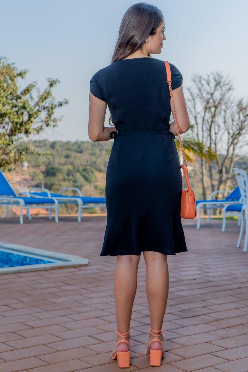 Vestido Luciana Pais Crepe Bubble Preto 92989