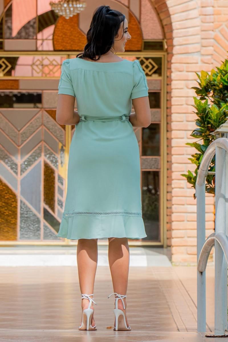 Vestido Luciana Pais Crepe Verde Rendas e Laço 92932 Verde