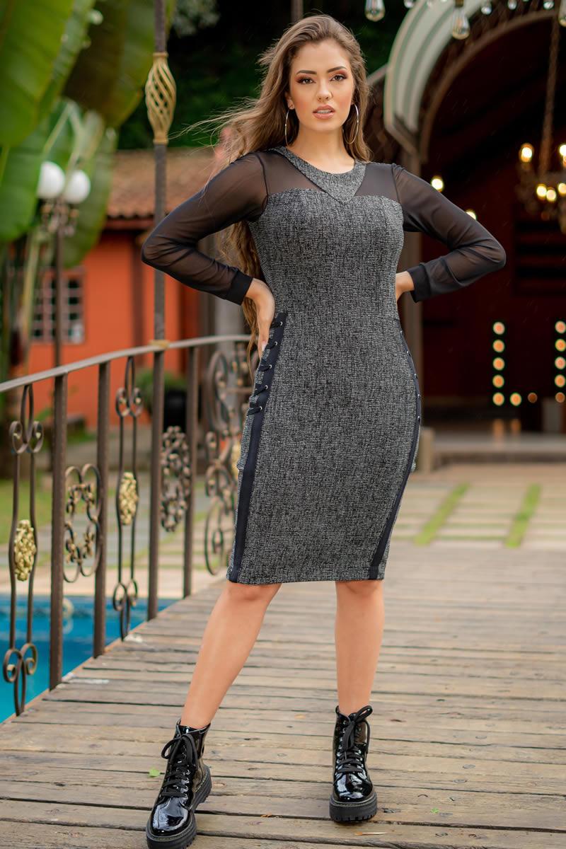 Vestido Luciana Pais Jacquard Mescla com Elastano 92984