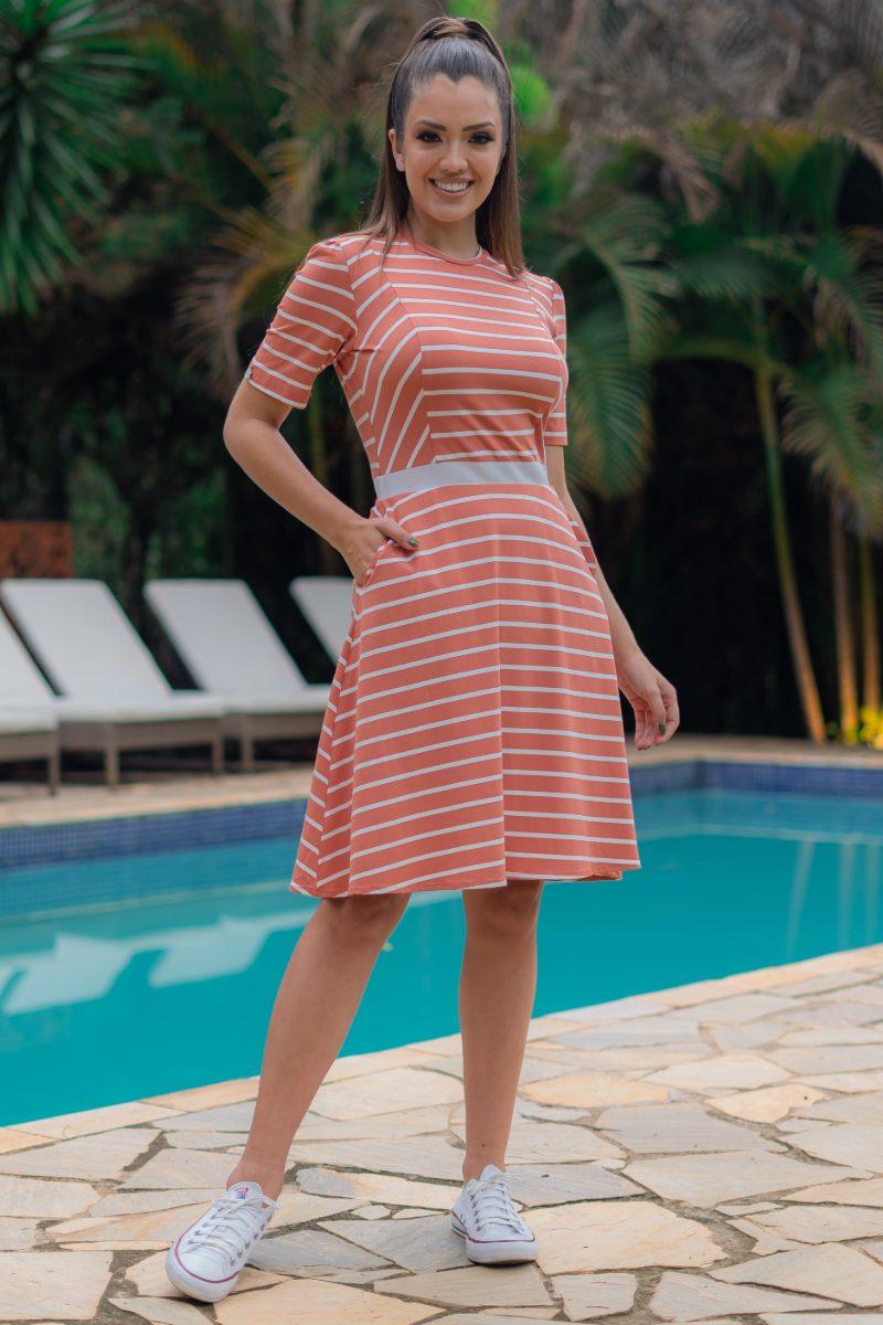 Vestido Luciana Pais Lady Like Listrado Malha Crepe com Elastano 93115